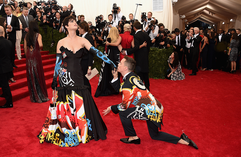 "NEW YORK, NY - MAY 04:  Katy Perry (L) and Jeremy Scott attend the ""China: Through The Looking Glass"" Costume Institute Benefit Gala at the Metropolitan Museum of Art on May 4, 2015 in New York City.  (Photo by Larry Busacca/Getty Images)"