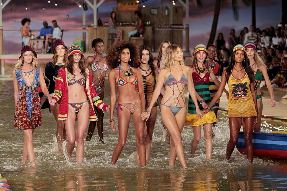 A model walks the runway wearing Tommy Hilfiger Women's Spring 2016 during New York Fashion Week: The Shows at Pier 36 on September 14, 2015 in New York City.